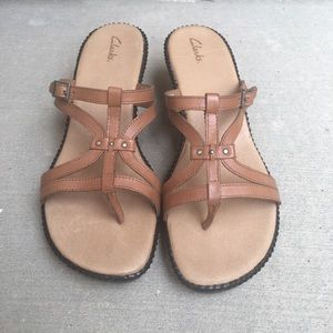 3 FOR 30 CLARKS Strappy Leather Sandals Size 9.5